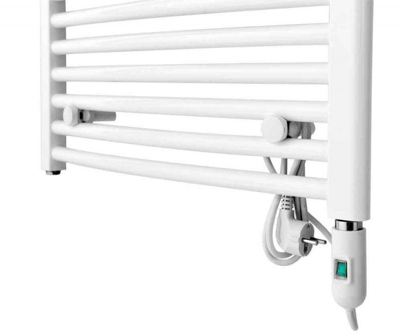 Elpatron av / på vit monterad i handdukstork
