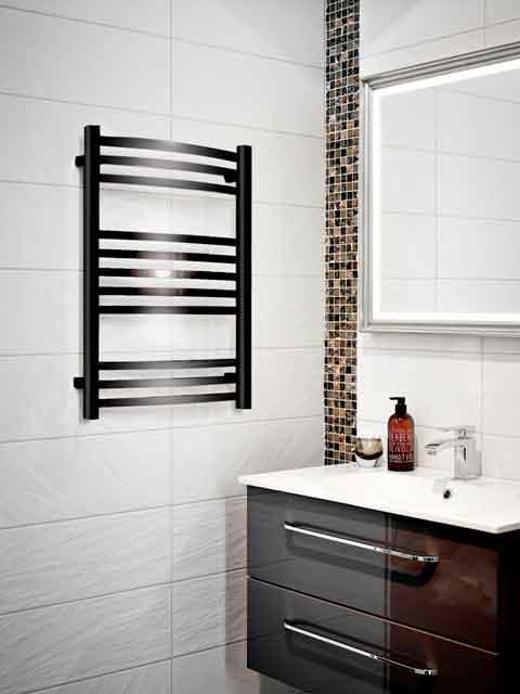 Eva handdukstork för el / vattenuppvärmning i svart lackering
