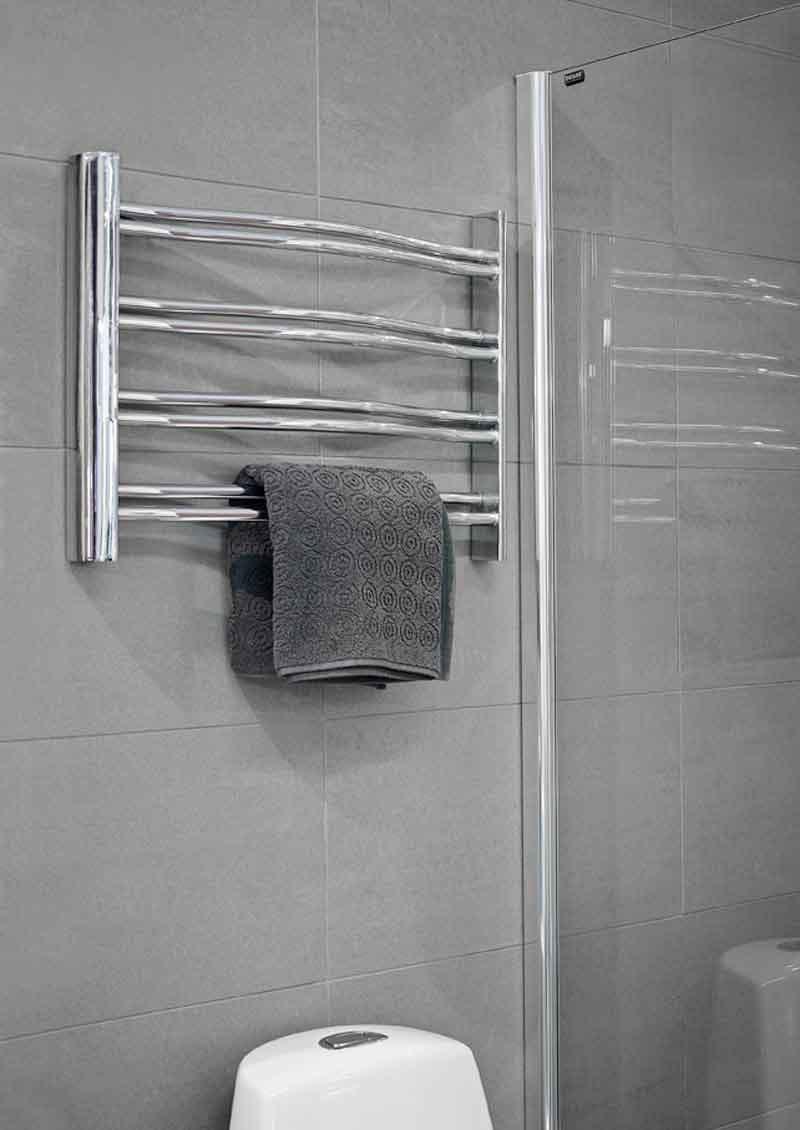 Petit handdukstork i rostfritt stål för vattenburen värme.